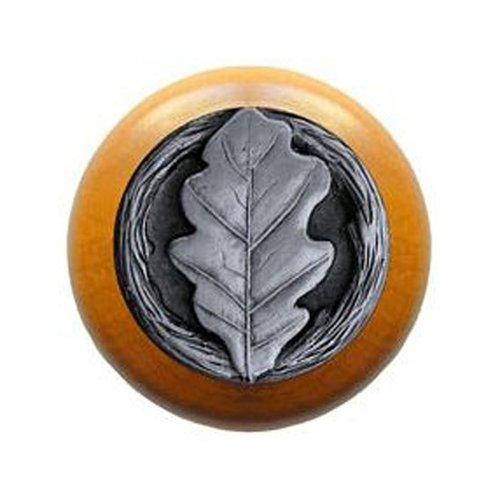 Notting Hill Leaves 1-1/2 Inch Diameter Antique Pewter Cabinet Knob NHW-744M-AP