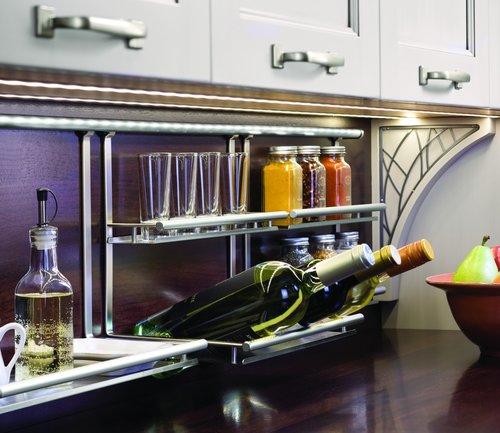 Kessebohmer Wine Bottle/Glass Shelf For Backsplash Rail System Stainless 521.61.626
