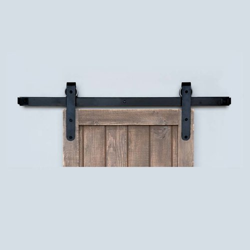 Acorn Manufacturing Designer Barn Door Rolling Hardware & 7' Track Smooth Iron BH5BI-7