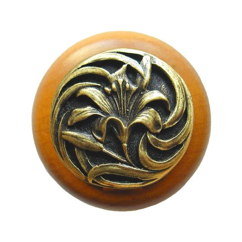 Notting Hill Floral 1-1/2 Inch Diameter Antique Brass Cabinet Knob NHW-703M-AB