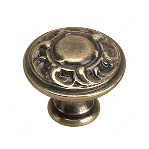 Richelieu Louis XV 1-3/16 Inch Diameter Burnished Brass Cabinet Knob 2440130BB