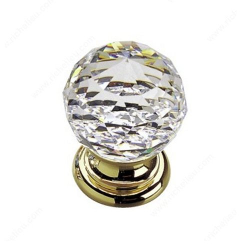 Richelieu Classic Glass 13/16 Inch Diameter Polished Brass,Clear Cabinet Knob 993313011