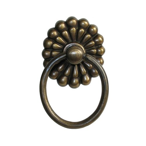 Ring Pulls 4 Inch Diameter Unlacquered Antique Brass Cabinet Ring Pull <small>(#HRP2016)</small>