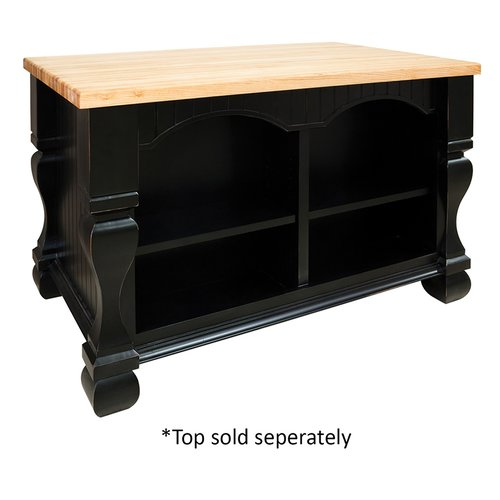 "Jeffrey Alexander 53"" Tuscan Kitchen Island w/o Top - Distressed Black ISL01-DBK"