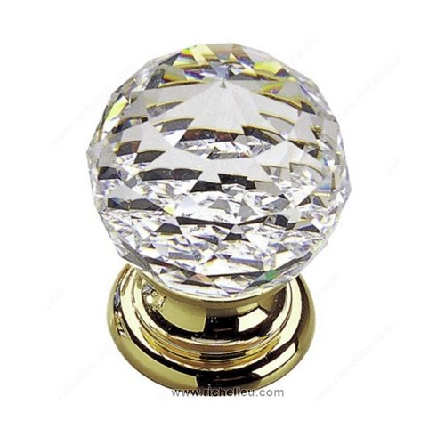 Richelieu Classic Glass 1-3/16 Inch Diameter Polished Brass,Clear Cabinet Knob 993213011