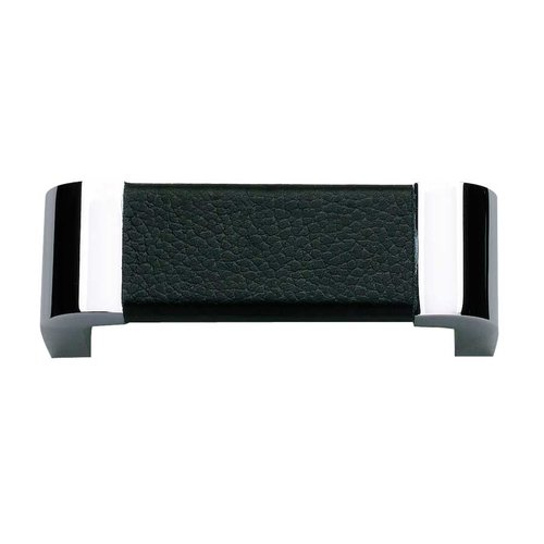 Atlas Homewares Paradigm 3 Inch Center to Center Chrome/Black Leather Cabinet Pull 3150-BL