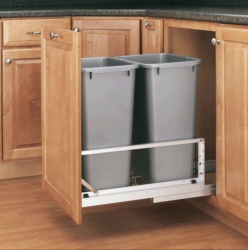 Rev-A-Shelf Double Trash Pullout 50 Quart-Silver 5349-2150DM-217