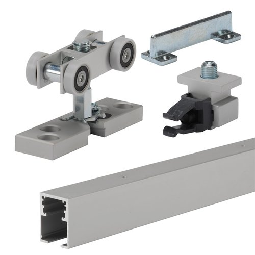 Grant Door Hardware by Hettich Grant HD Single Sliding Door Track and Hardware Set 8 feet Anodized Aluminum 9201510