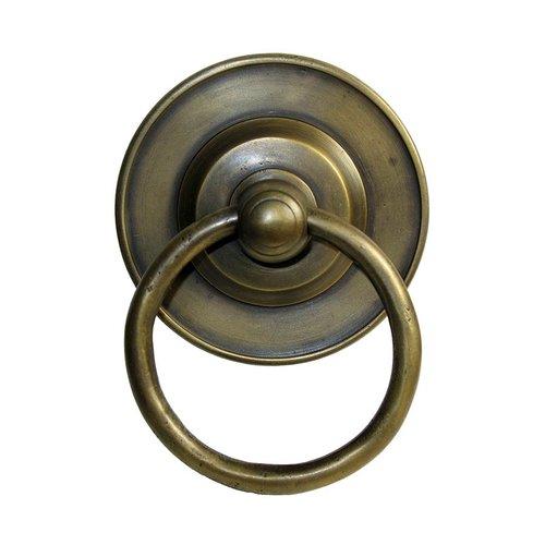 Gado Gado Ring Pulls 3-1/8 Inch Diameter Unlacquered Antique Brass Cabinet Ring Pull HRP1018