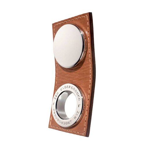 Zen Garage 5/8 Inch Center to Center Brown Leather/Polished Chrome Cabinet Pull ZP1253.102