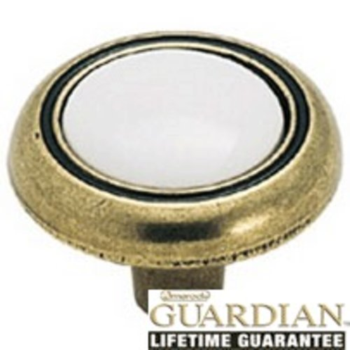 Amerock Allison Value Hardware 1-1/4 Inch Diameter Antique Brass/white Cabinet Knob BP76244WB
