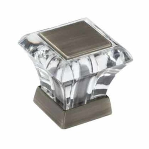 Abernathy 1 Inch Diameter Acrylic/Antique Silver Cabinet Knob <small>(#BP29460CAS)</small>