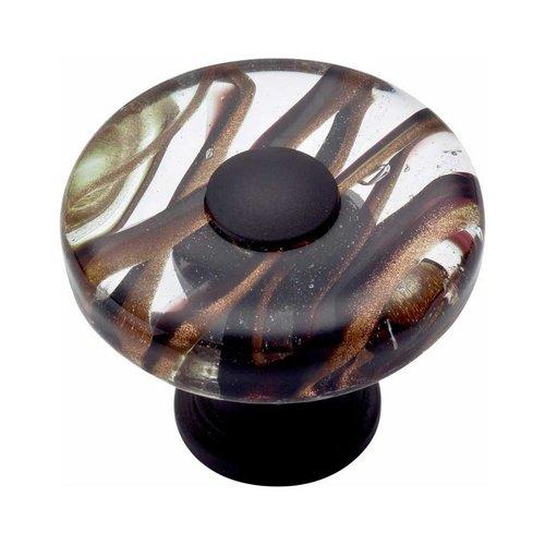 Atlas Homewares Glass 1-1/2 Inch Diameter Oil Rubbed Bronze Cabinet Knob 3206-O
