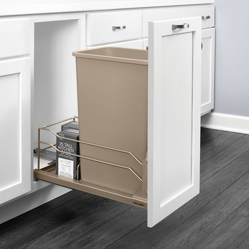 Rev-A-Shelf 53WC Single Trash Pullout 50 Quart Champagne 53WC-1535SCDM-112