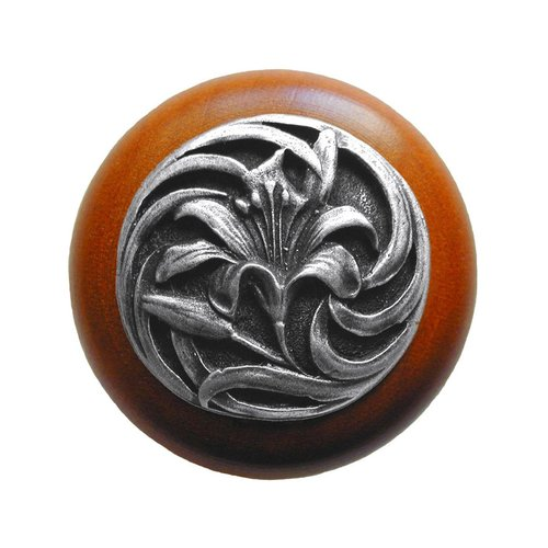 Notting Hill Floral 1-1/2 Inch Diameter Antique Pewter Cabinet Knob NHW-703C-AP