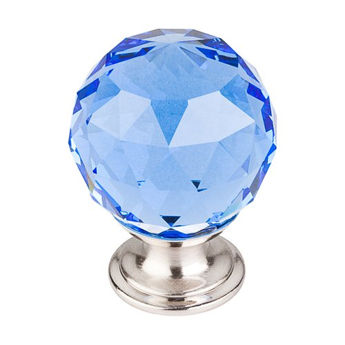 Crystal 1-3/8 Inch Diameter Blue Crystal Cabinet Knob <small>(#TK124BSN)</small>