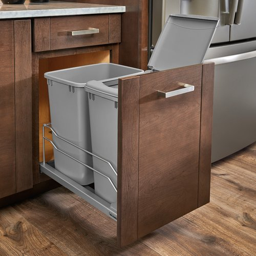Rev-A-Shelf 53WC Double Trash Pullout 35 Quart Silver 53WC-1835SCDM-217
