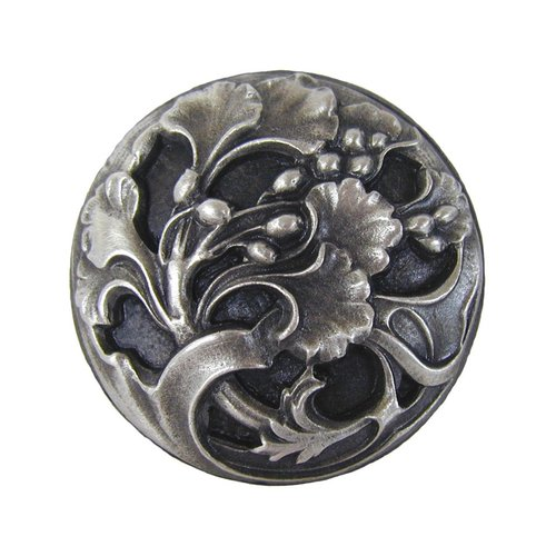 Notting Hill Floral 1-3/8 Inch Diameter Antique Pewter Cabinet Knob NHK-102-AP