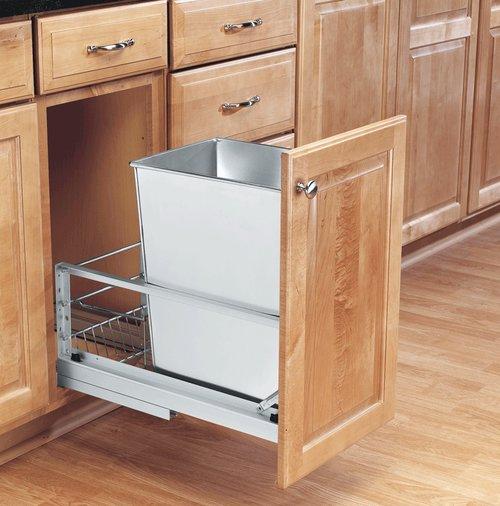 Rev-A-Shelf Single Trash Pullout 32 Quart-Stainless Steel 5349-15DM-1SS