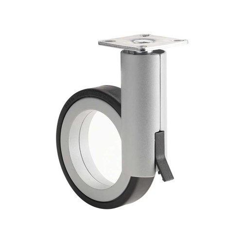 Richelieu Caster With Swivel & Brake - Black & Aluminum 8088128010
