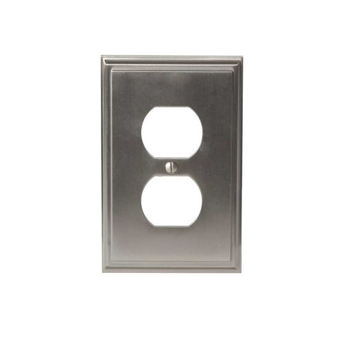 Mulholland One Receptacle Wall Plate Satin Nickel <small>(#BP36522G10)</small>