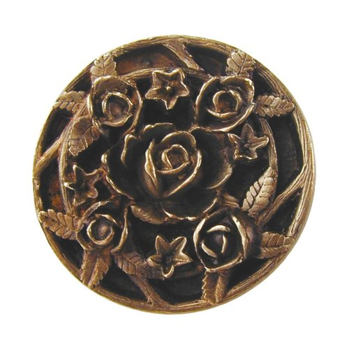 Notting Hill Floral 1-1/16 Inch Diameter Antique Brass Cabinet Knob NHK-126-AB
