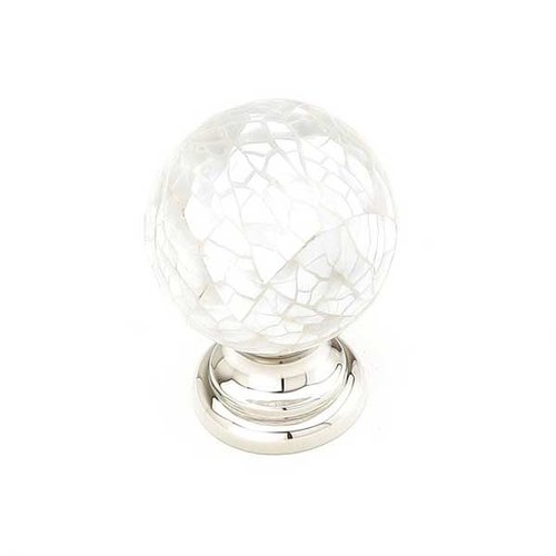 Schaub and Company Precious Inlays 1-1/4 Inch Diameter Polished Nickel w/ Mother of Pearl Inlay Cabinet Knob 857-MOP/PN