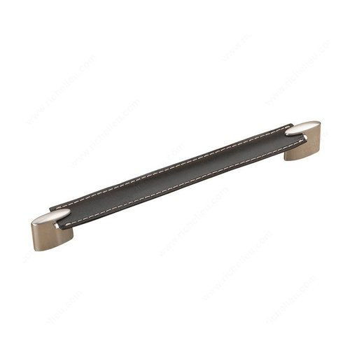 Richelieu Wood & Leather 8-13/16 Inch Center to Center Black/Brushed Nickel Cabinet Pull 74520422419590