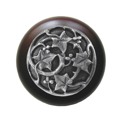 Notting Hill Leaves 1-1/2 Inch Diameter Antique Pewter Cabinet Knob NHW-715W-AP