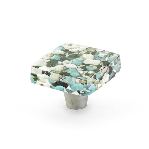 Ice 1-1/2 Inch Diameter Green/Blue Pebbles Cabinet Knob <small>(#34-GBP)</small>
