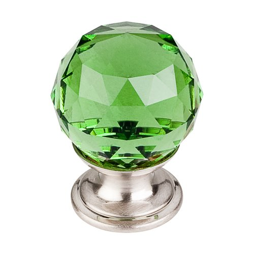 Top Knobs Crystal 1-1/8 Inch Diameter Green Crystal Cabinet Knob TK119BSN