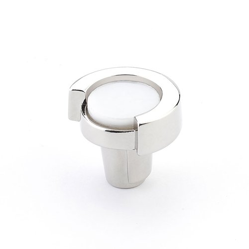 "Tallmedge Round Knob 1-1/4"" Dia Polished Nickel/White <small>(#25-PN-WH)</small>"
