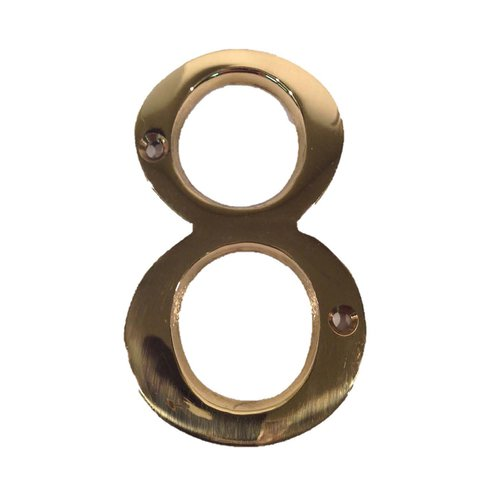 "Don-Jo 4"" House Number ""8"" Bright Brass BN4-8-605"