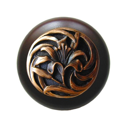 Notting Hill Floral 1-1/2 Inch Diameter Antique Copper Cabinet Knob NHW-703W-AC