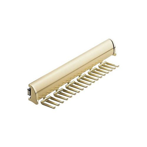 "Hafele Elite Tie Rack Polished Brass 13-7/8"" L - 18 Hook 807.67.803"