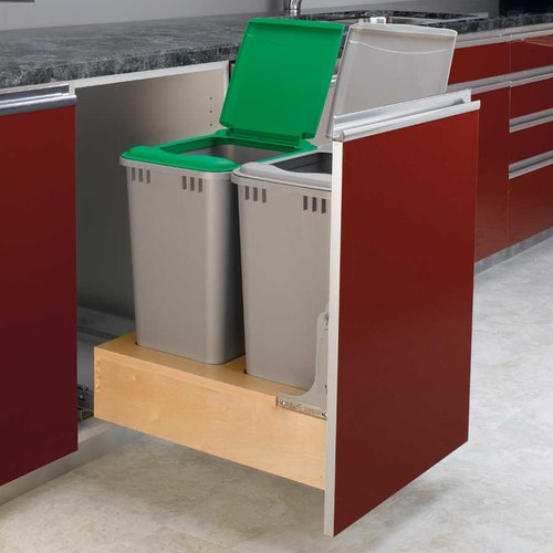 Double Trash Pullout 50 Quart-Wood <small>(#4WCBM-2150DM-2)</small>