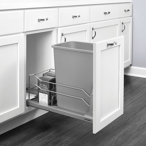 Rev-A-Shelf 53WC Single Trash Pullout 35 Quart Silver 53WC-1535SCDM-117
