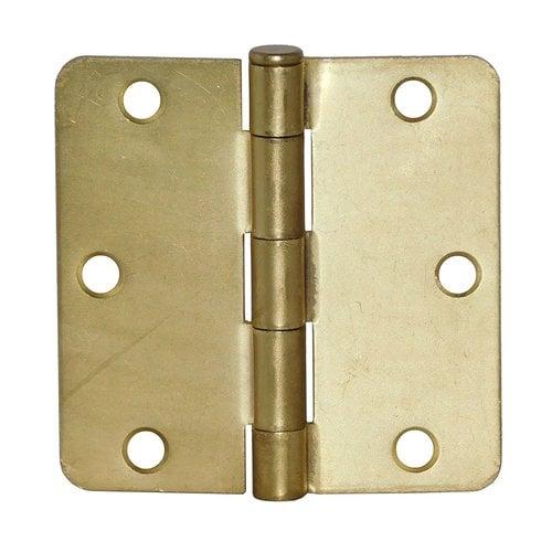 Don-Jo 1/4 inch Radius Door Hinge 4 inch x 4 inch Satin Brass RPB74040-14-633