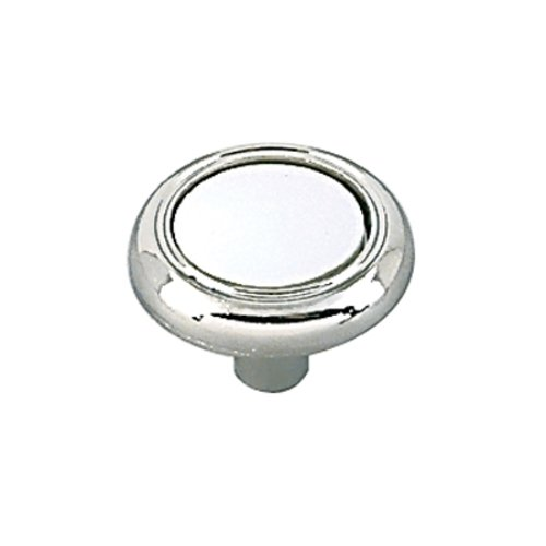 Allison Value Hardware 1-1/4 Inch Diameter White/polished Chrome Cabinet Knob <small>(#BP7624426W)</small>