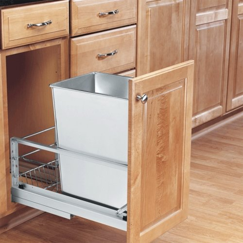 Rev-A-Shelf Single Trash Pullout 32 Quart-Stainless Steel 5349-15DM-1SS