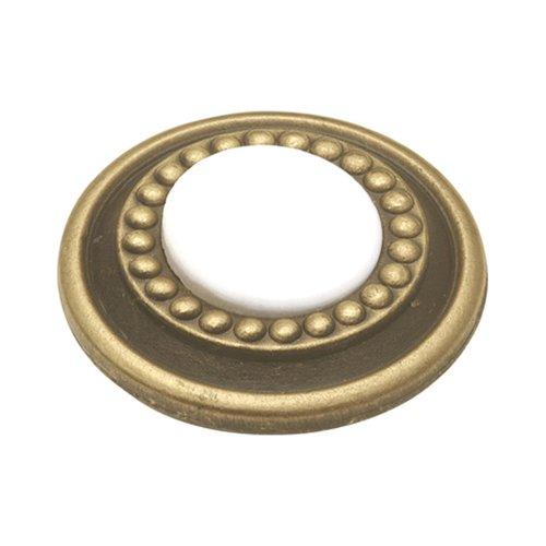Hickory Hardware Cavalier 1-1/4 Inch Diameter Antique Brass & White Cabinet Knob P953-W