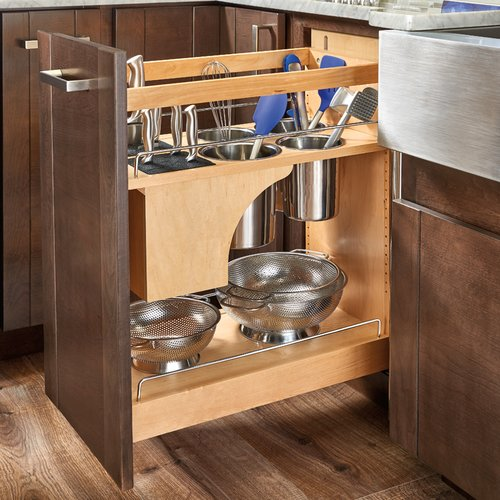 Rev-A-Shelf 448KB 11 inch Organizer with Knife Block, Bins and Shelves Maple 448KB-BCSC-11C