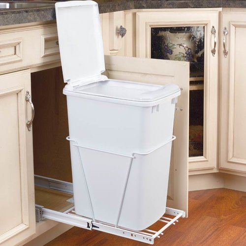 Rev-A-Shelf Single Full Extension Trash Pullout 35 Quart-White RV-12PB-LE