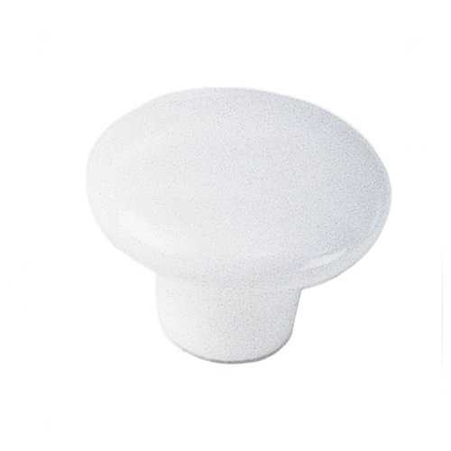 White Porcelain 1-1/2 Inch Diameter White Cabinet Knob <small>(#01742)</small>