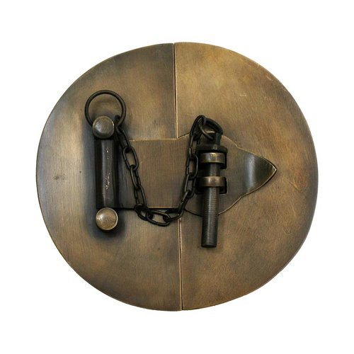 "Simple Round Latch with Chain 4-1/4"" Dia - Antique Brass <small>(#HLA1010)</small>"