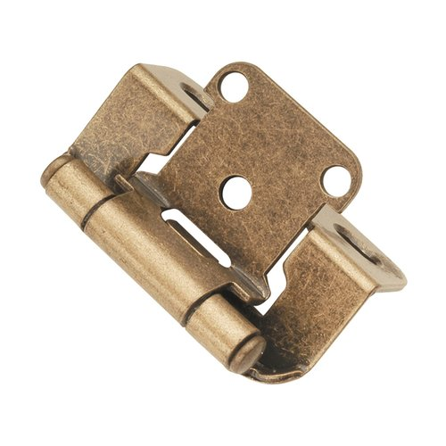 "Hickory Hardware Partial Wrap 1/2"" Overlay Hinge Pair Antique Brass P2710F-AB"