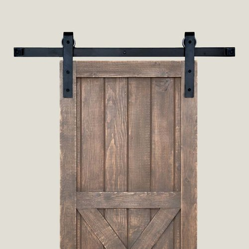 Acorn Manufacturing Basic Barn Door Rolling Hardware and 7 feet Track Smooth Iron BH1BI-7