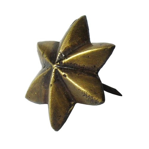 6-Point Star Clavo 1-3/16 inch Diameter - Antique Brass <small>(#HCL1152)</small>