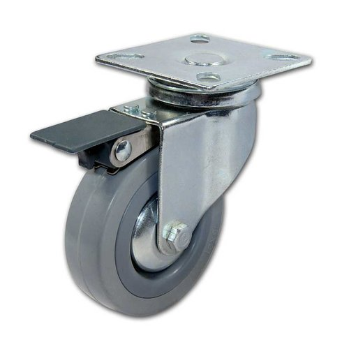 Richelieu Rubber Caster With Swivel & Brake - Grey F24787