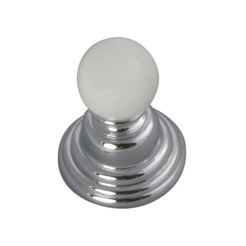 Hickory Hardware Gaslight 15/16 Inch Diameter Chrome With White Cabinet Knob P3410-CHW